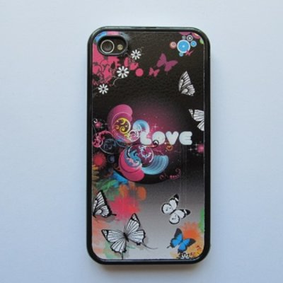 iPhone 4 iPhone 4S Cover Schutzhülle Cartoon Motiv ( Schmetterlinge in Love )
