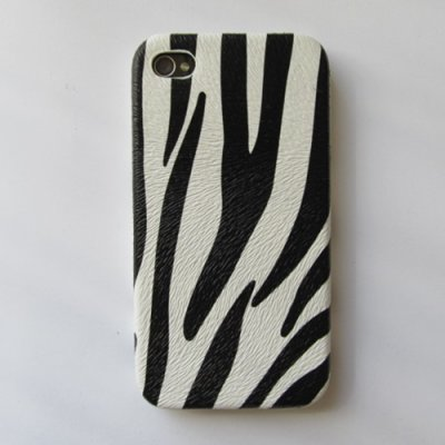 iPhone 4 iPhone 4S Cover Schutzhülle Zebra Style ( Weiss )