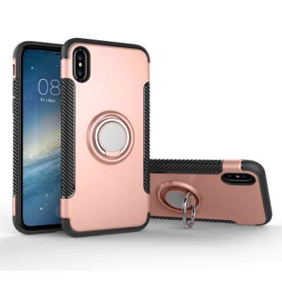 iPhone X / XS Cover Schutzhülle TPU Silikon Metall Ring Standfunktion Rose Gold
