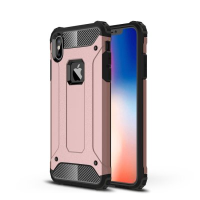 iPhone XS Max Cover Schutzhülle TPU Silikon/PC Carbon Design Rose Gold