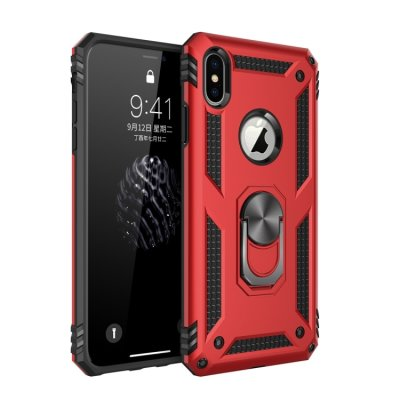 iPhone XS Max Cover Schutzhülle TPU/PC Kombi Metal Ring Standfunktion Rot