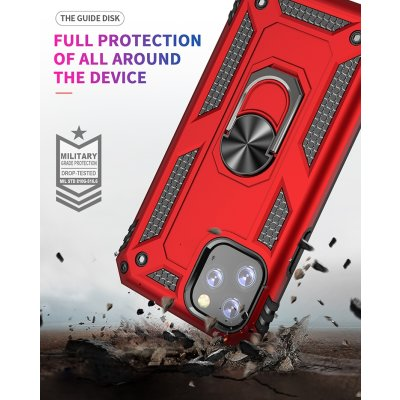 iPhone 11 Pro Max Cover Schutzhülle TPU/PC Kombi Metal Ring Standfunktion Rot